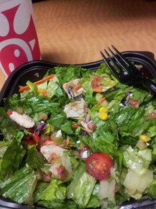 Chick-fil-A Cobb Salad, no bacon or cheese, grilled filet