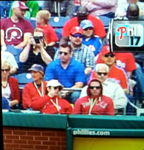My husband and son at the Phillies game (top left corner).  Yes, I'm the nerd that takes a picture of the TV screen!